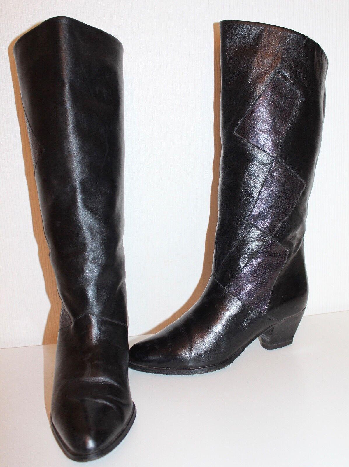Peter emperador 80er vintage 80s VTG botas de cuero marrón 36 Leather slouch botas