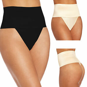 f97465af2b Image is loading High-Waisted-Thong-Panty-Tummy-Tucker-Shaper-Firming-
