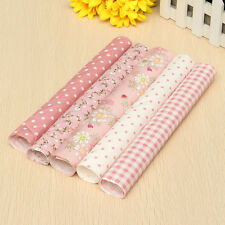 """Dollhouse Sewing 5 Pink Assorted Pre Cut Charm 10"""" Squares Quilt Cotton Cloth Fa"""