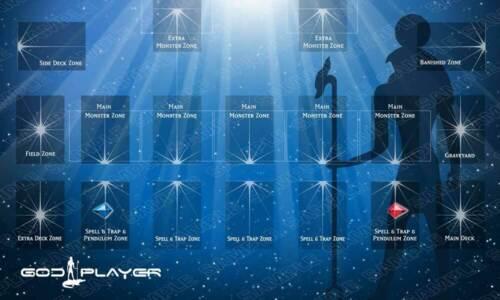 Tappetino da gioco GODPLAYER SKY ☻ Playmat con Zone Yugioh ANDYCARDS