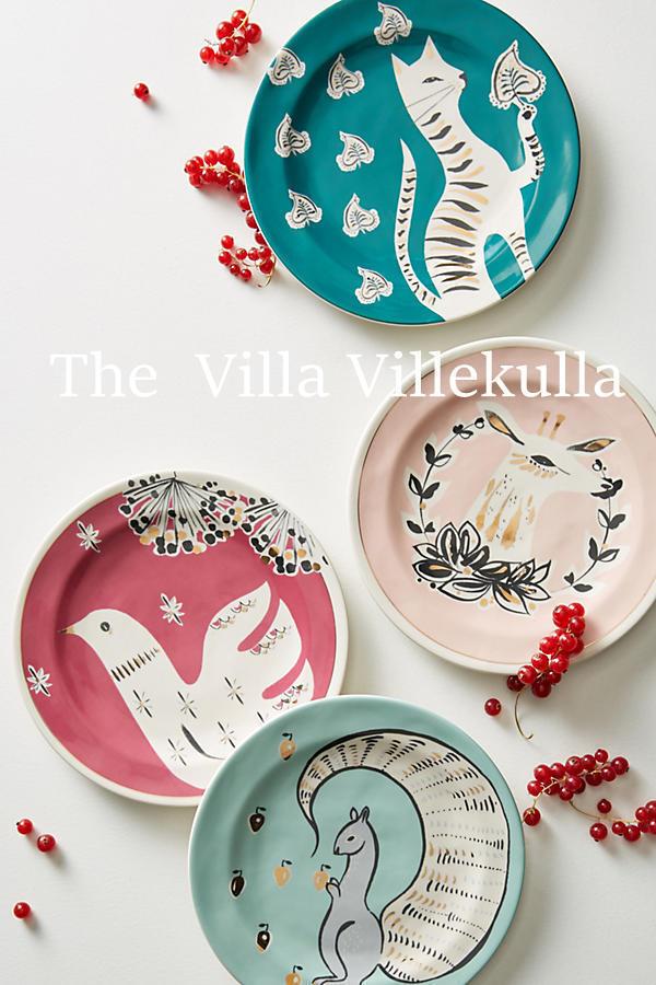 "New Anthropologie  Corinna"" Dessert Plate 4 PC. Set  Squirrel, Deer, Cat & Dove"