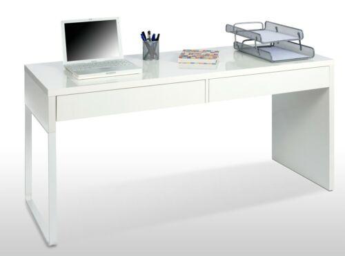 Scrivania ufficio moderna porta pc colore bianco lucido 2 cassetti 138x50x75h