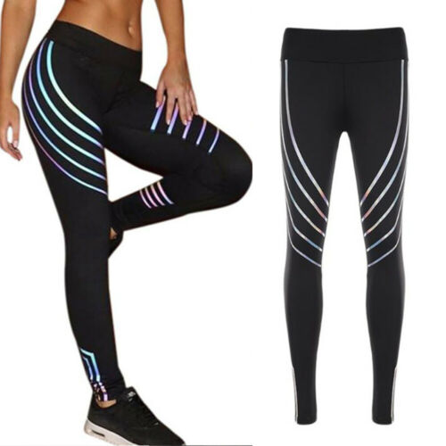 UK Womens High Waisted Yoga Pants Sports Print Workout Leggings Stretch Trousers