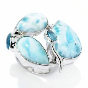 Blue sky Sterling silver ring with 10mm larimar cabochon