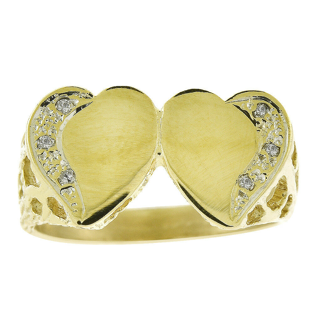 0.06 Carat Round Cut Diamond Heart Ring 14K Yellow gold