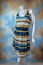 NEW $49 BCX open back striped boho textured tank dress SZ: M
