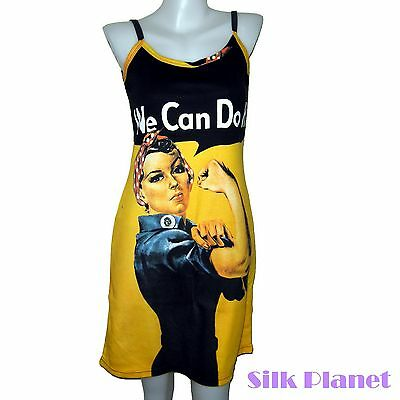WE CAN DO IT ROSIE THE RIVETER PIN UP POSTER POP ART PRINT TANK DRESS SHIRT &