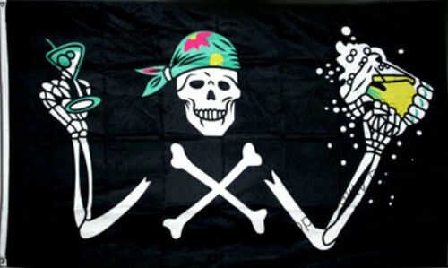 PIRATE with BEER FLAG 5/' x 3/' Skull Halloween Party Oktoberfest Festival Bar
