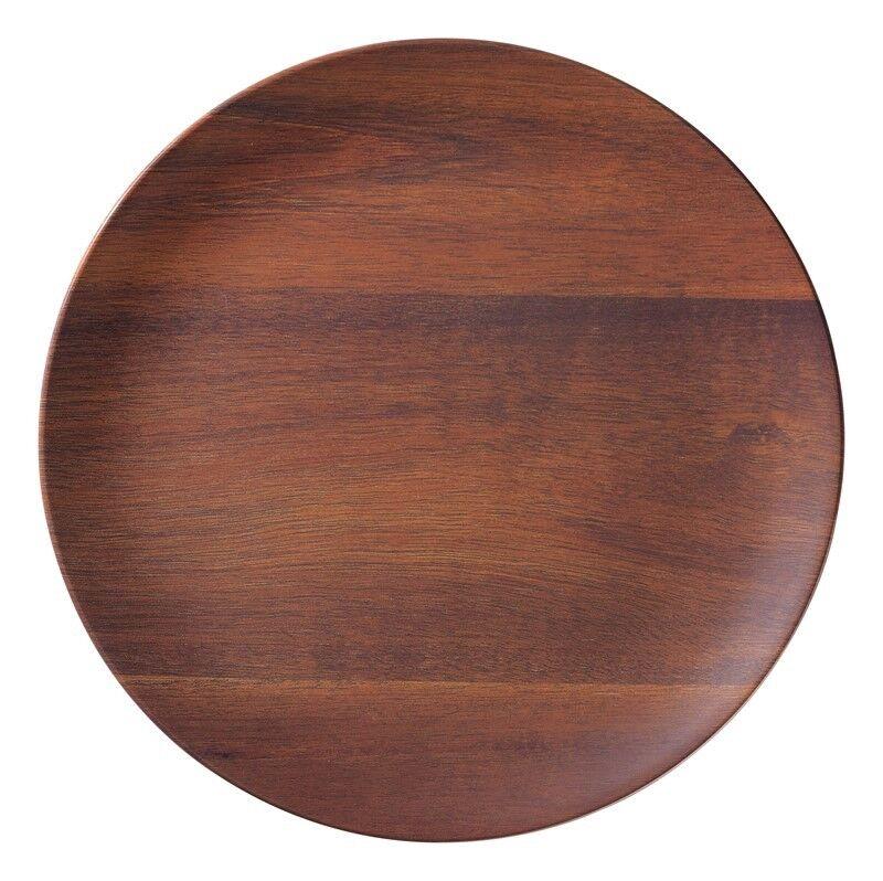Set of 6 pinkwood Faux Wood Melamine 9  Round Salad Plates from Merritt USA
