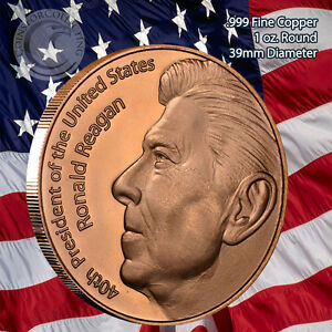 20 Ounces Of Copper 1 oz Each RONALD REAGAN Design  Bullion Rounds