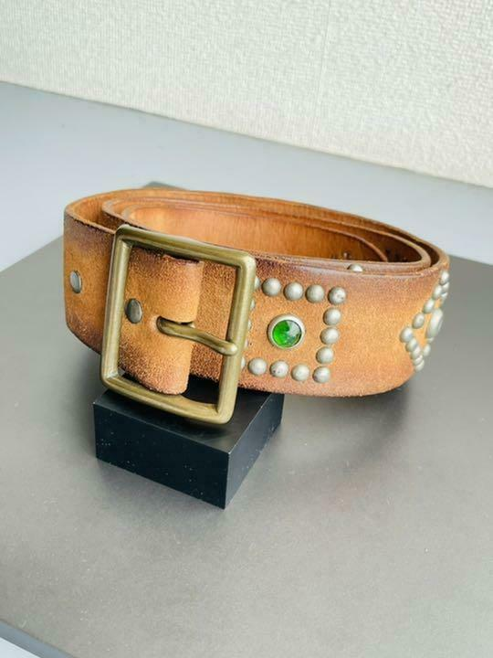 RRL Stone Studs Leather Belts Genuine Free Shipping No.8167