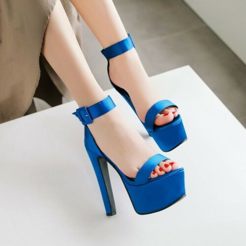 Ladies Shoes Satin Platform High Heel Pumps Zip Ankle Strap Sandals US Size S997