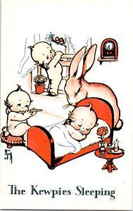 1970s-Kewpie-Postcard-Rose-O-039-Neill-Fantasy-The-Kewpies-Sleeping-Bunny-Flute-Bird