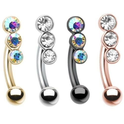 """THREE GEM ACCENT CURVED EYEBROW RING BARBELL BODY PIERCING JEWELRY 16g 5//16/"""""""