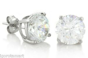 Round-Cut-Clear-Created-CZ-Diamante-Stud-925-Sterling-Silver-Earrings