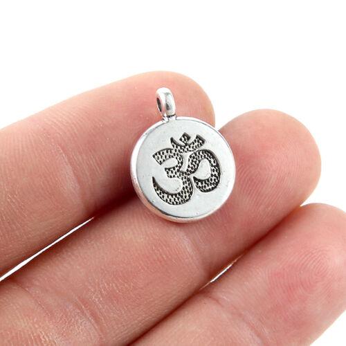 10x 20x Vintage Silver 3D Round Charm Pendant 15MM Fit DIY Necklace Bracelet