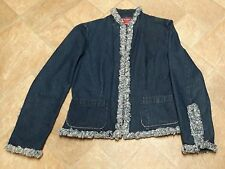 Westport Denim Jean Jacket Blazer Rhinestone Flower Buttons Frayed Edge Small