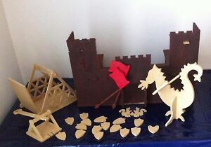 DIY-Wooden-Kaisercraft-Fort-Castle-Dragon-amp-Accessories-Kit-Partially-Painted
