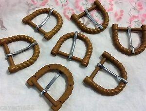 LOT 7 ANCIENNE BOUCLE DE CEINTURE résine torsadé marron 4 cm x 3.5 ... b8e2c89dfdc