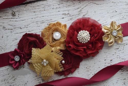 flower Belt Maternity Sash burgundy gold sash maternity sash wedding sash
