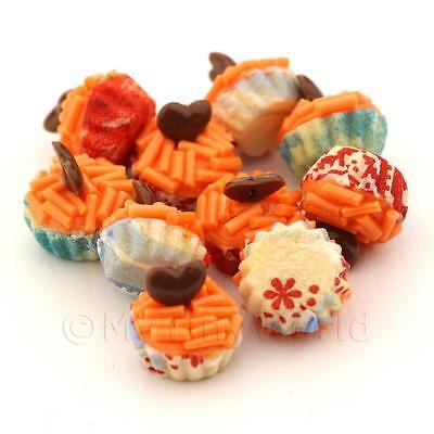 Dolls, Bears Adaptable 4x Miniature Orange Sprinkle With Choc Heart Cupcakes With Mixed Colour Paper Cu Houses, Miniatures
