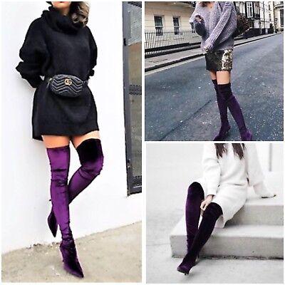5009201 Aubergine Nwt Heel Over Knee Boots us6eur36Ebay Zara Velvet High m0vwN8n