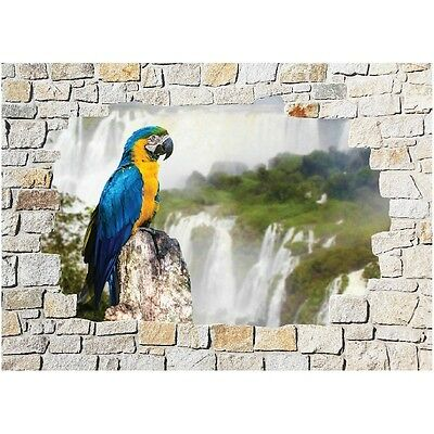 Stickers mural mur de pierre Perroquet 8504