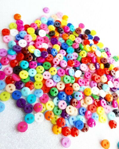6mm Mini Buttons Mixed Colours 6mm Round Two Hole Buttons for Dolls Clothes