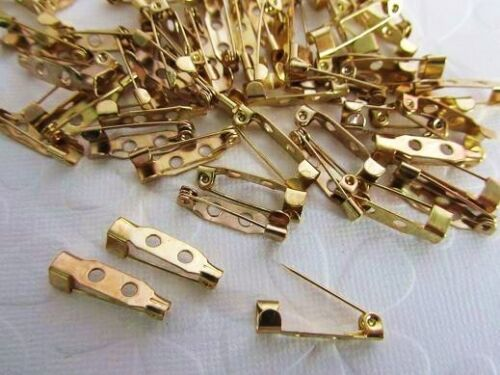 100 Plated Brooch Pins Back Jewelry Findings//beading//needle JF4-Silver OR Gold