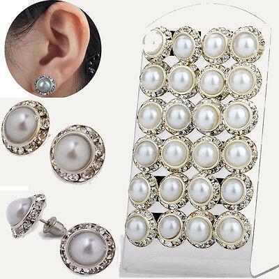 12pairs Wholesale Elegant Crystal Rhinestone Ear Stud Pearl Wedding Earring AA+