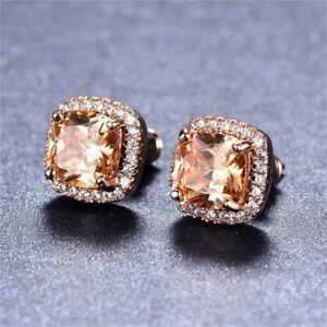 18K-Rose-Gold-Fashion-Princess-Cut-Champagne-Topaz-Stud-Earrings-Square-Ear-Stud