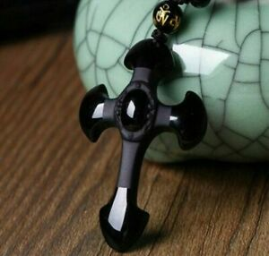China-Natural-Carved-Black-Obsidian-Cross-Lucky-Pendants-free-Beads-Neckl