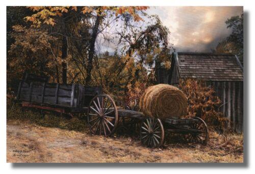 "PioneerWagon&Hay ""TheOld Wagon"" By Robin Lee Vieira 18x12 WallArt Print Picture"