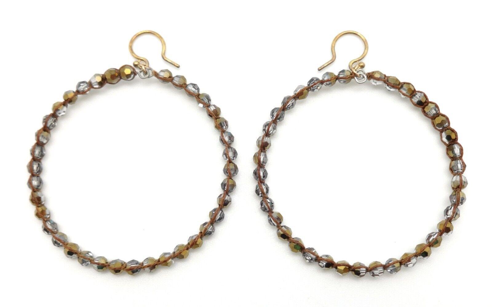 CHAN LUU Crystal Dorado Swarovski Crystal On Brown Wax Hoop Hook Earrings 2 3 4