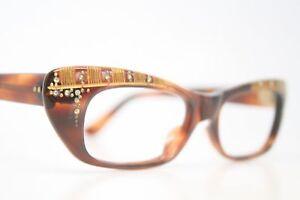e509822fa3 Image is loading Tortoise-Rhinestone-Vintage-Cat-Eye-Glasses-Unused-1960s-