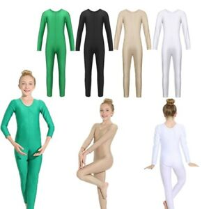 b32bc919b770 Kids Girls Long Sleeve Ballet Gymnastics Dance Leotard Jumpsuit ...