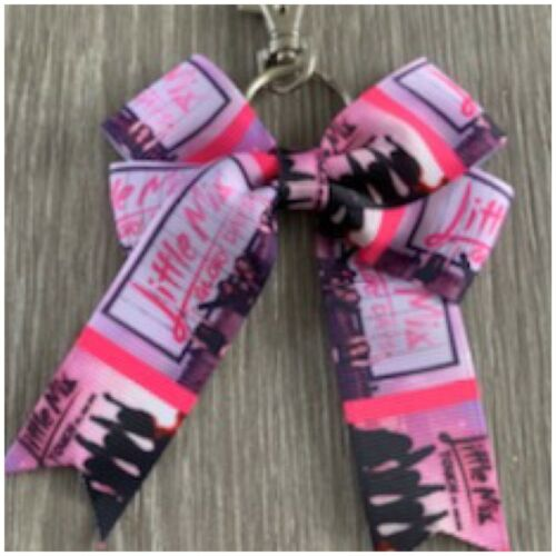 """handmade double Cheer bow  little mix 3/""""keyring //bag charm-perfect for xmas"""