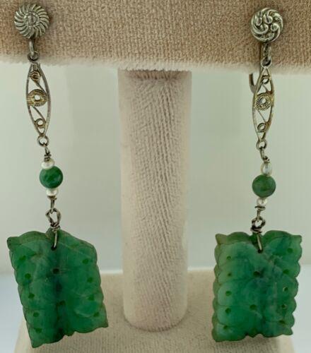 Vintage 1930's Carved Green Jadeite Jade Dangle Dr