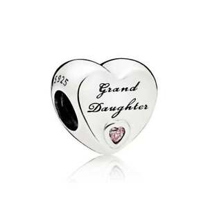 Genuine-Pandora-Sterling-Silver-Granddaughter-039-s-Love-Pink-CZ-Charm-796261PCZ