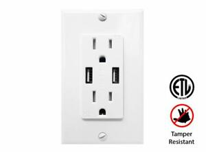 4-2A-High-Speed-Dual-USB-Charging-Electrical-Outlet-Receptacle-15A-TR-Charger