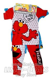 d22190ee2 New Boys Toddler Sesame Street Elmo Cookie Monster 4 Pc Pajama Set ...