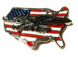 WESTERN-STEER-EAGLE-American-Flag-Cowboy-Rodeo-Style-Belt-Buckle-Buck-USA