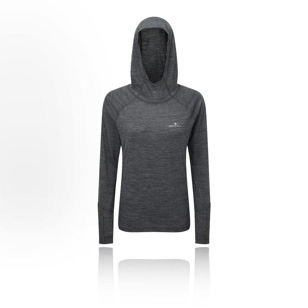 RonHill Womens Infinity Merino Hoodie Grey Sports Running Hooded Warm Breathable