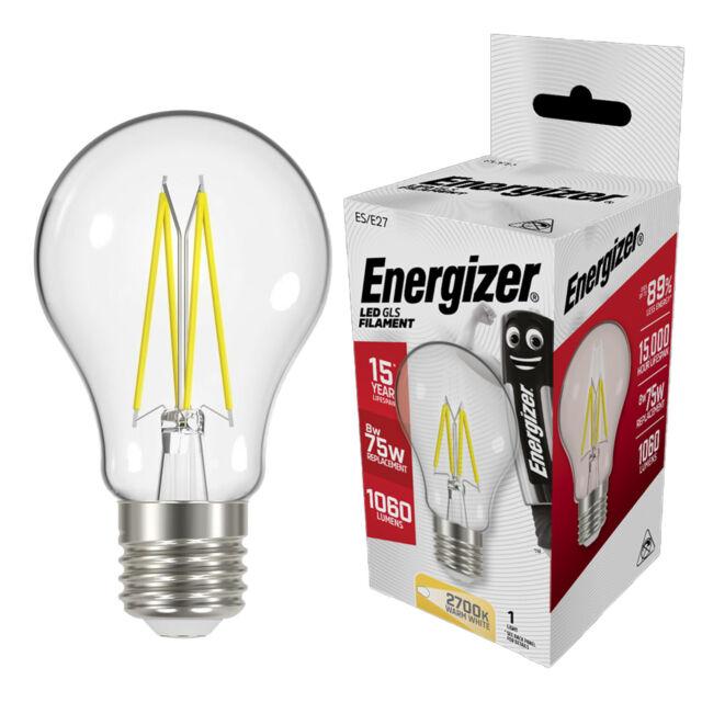 Energizer 8w (=75w) LED Clear GLS Filament Bulb, Extra Warm White (2700k) - ES