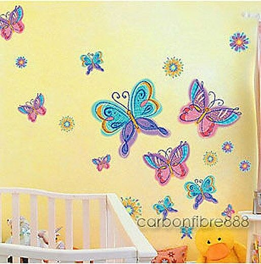 LARGE Colourful BUTTERFLIES FLOWERS Wall Stickers Nursery Girls Kids Room Decor