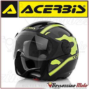 CASCO-JET-ACERBIS-X-JET-ON-BIKE-CAMOUFLAGE-NERO-GIALLO-LUCIDO-MOTO-SCOOTER