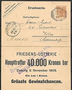 Austria covers 1905 local 3Heller Private Lottery PC Wien Friedens-Lotterie