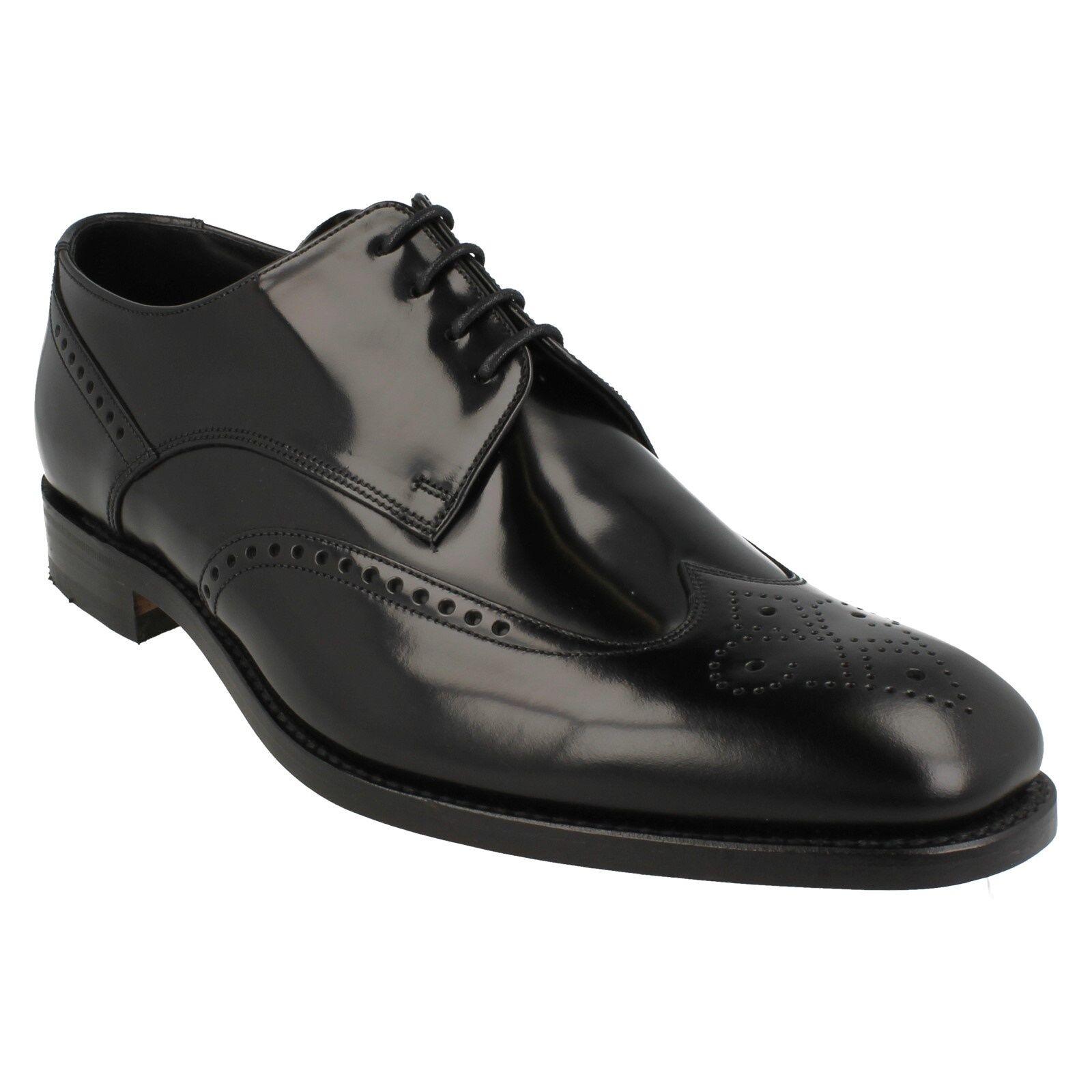 Zapatos De Cuero BOGART para hombre LOAKE acordonados formal inteligente Semi Brogue Negro Pulido