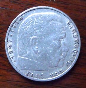 5 Reichsmark Deutsches Reich 1936 A Paul Von Hindenburg 900er