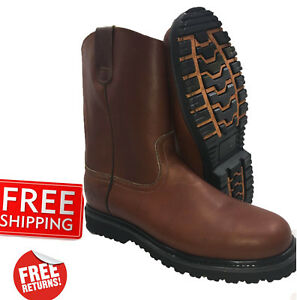Men-039-s-Best-Work-Boots-Pull-On-Leather-Brown-oil-water-slip-resistant-Size-6-5-13